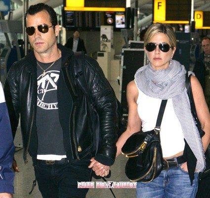 Jennifer Aniston And Justin Theroux At Heathrow Airport