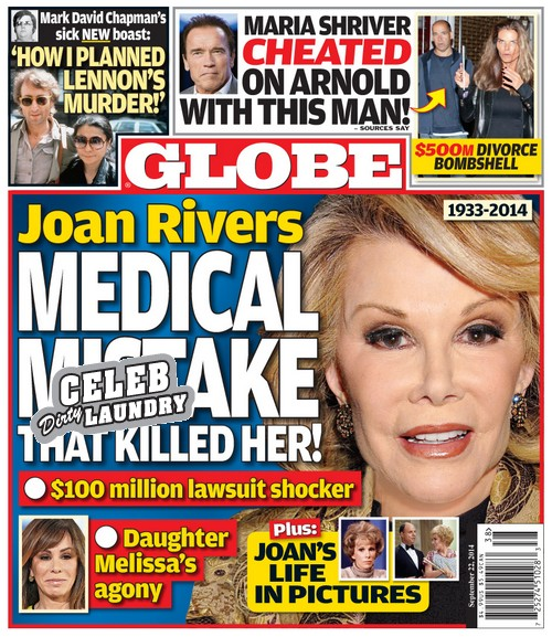 GLOBE: Joan Rivers - Medical Mistake That Killed Her - $100 Million Lawsuit Shocker (PHOTO)