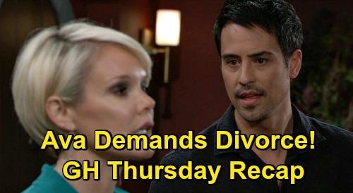 General Hospital Spoilers: Thursday, October 22 Recap - Ava Demands Divorce - Carly Intrudes At Nelle Burial - Valentin Onto Jax