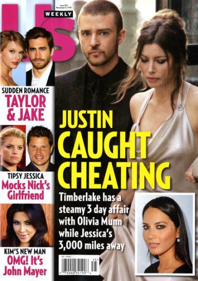 Is Justin Timberlake cheating on Jessica Biel with Olivia Munn?