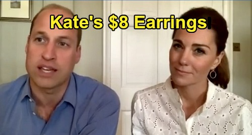 Kate Middletons $8 Earrings Steal The Show - Duchess of Cambridge Sports Affordable Fashion On Video Chats