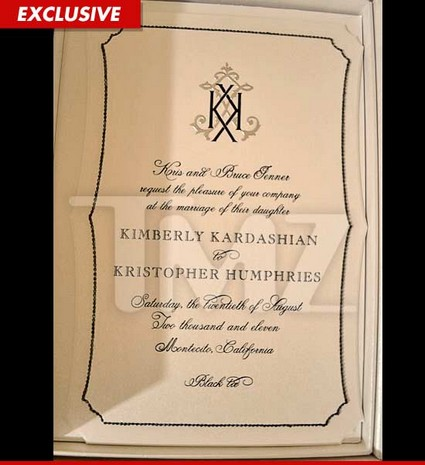 Kim Kardashian's Wedding Invitation, Black Tie Only - Photo