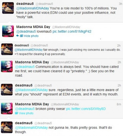The Ecstasy War: Madonna Fires Back At Deadmau5 After He Called Her Out On 'Blatant Drug Reference'