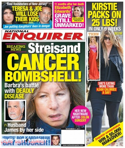 National Enquirer: Barbara Streisand Cancer Bombshell (Photo)