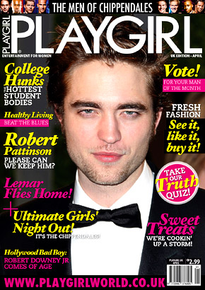 Robert Pattinson On The Cover Of Playgirl Magazine