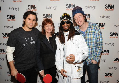 Susan Sarandon plays ping-pong at Bing Bar with Lil' Jon and the SPiN partners