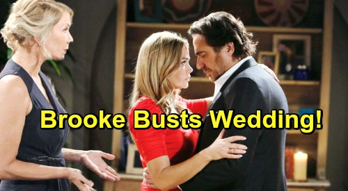 The Bold and the Beautiful Spoilers: Brooke Destroys Shauna's Second Wedding to Ridge – Big Reveal Sinks Bride on Big Day?