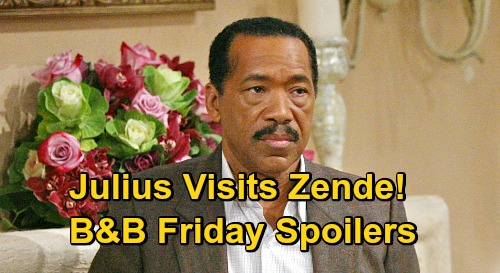 The Bold and the Beautiful Spoilers: Friday, October 23 - Julius Avant Pays Zende A Visit - Thomas' Designs Worry Brooke