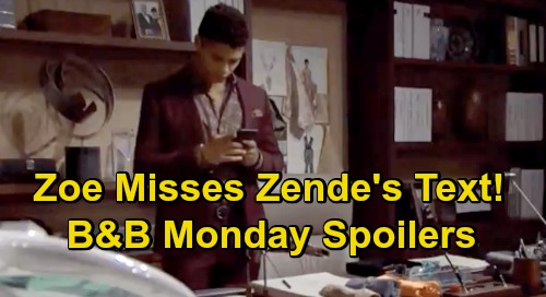 The Bold and the Beautiful Spoilers: Monday, October 26 - Zoe Misses Zende's Text, Gets Intimate With Carter - Wyatt Blasts Quinn