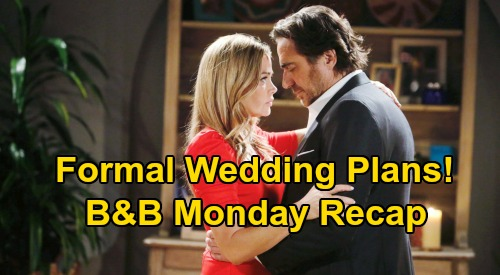 The Bold and the Beautiful Spoilers: Monday, September 14 Recap - Bill Gains Ground With Katie - Ridge's Formal Wedding Plans
