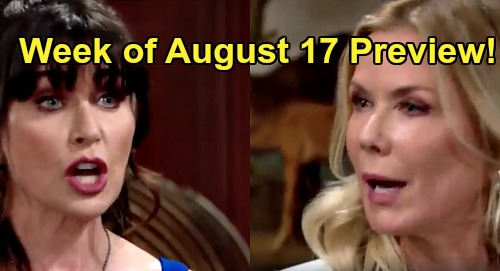 The Bold and the Beautiful Spoilers Preview: Week of August 17 – Quinn Taunts Brooke Over Losing Ridge to Shauna