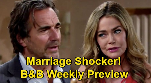 The Bold and the Beautiful Spoilers Preview: Week of August 3 - Ridge & Shauna Marriage Bomb, Brooke Freaks – 'Til Death Do Us Part