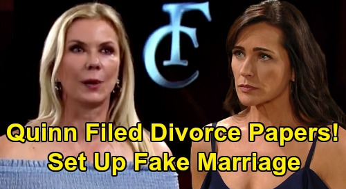 The Bold and the Beautiful Spoilers: Quinn Filed Ridge & Brooke's Divorce Papers - Set Up Shauna's Fake Marriage?