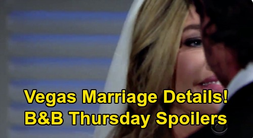 The Bold and the Beautiful Spoilers: Thursday, August 13 - Vegas Wedding Details - Brooke Crushed, Ridge Takes Shauna Marriage Seriously