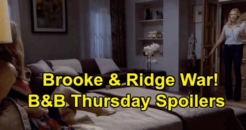 The Bold and the Beautiful Spoilers: Thursday, August 27 - Brooke & Ridge Nasty Battle - Katie Overhears Bill Loves Brooke