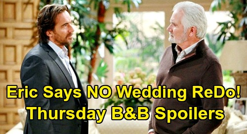 The Bold and the Beautiful Spoilers: Thursday, October 1 - Eric Tells Ridge Cancel Shauna Wedding ReDo - Carter Gets A Promotion
