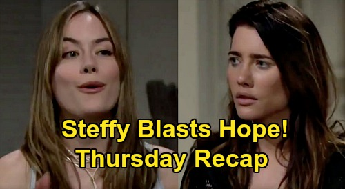The Bold and the Beautiful Spoilers: Thursday, September 3 Recap - Steffy Loses It When Hope Doesn't Return Kelly