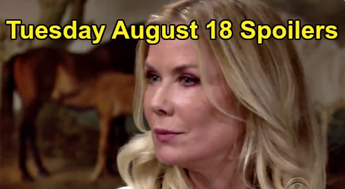 The Bold and the Beautiful Spoilers: Tuesday, August 18 - Thomas Makes Steffy Face A Shocking Truth - Brooke's Scary Threat