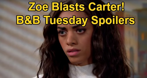 The Bold and the Beautiful Spoilers: Tuesday, December 29 - Zoe Blasts Carter Over Paris' New Job - Guilt Drives Liam Crazy