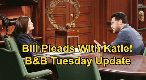 The Bold and the Beautiful Spoilers: Tuesday, July 21 Update – Hostage Flo Fumes - Wyatt Shocker Revealed – Bill's Plea to Katie