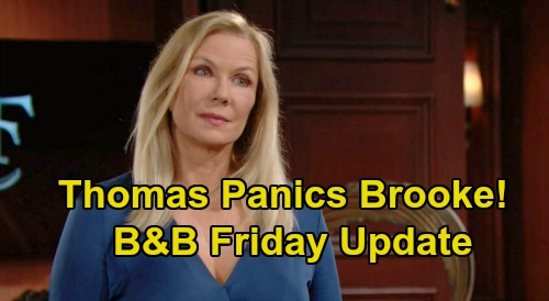 The Bold and the Beautiful Spoilers Update: Friday, October 23 – Brooke Shaken by Thomas' Disturbing Work – Julius' Advice for Zende