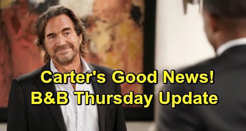 The Bold and the Beautiful Spoilers Update: Thursday, October 1 – Carter's Good News - Ridge & Eric Spar Over Sudden Wedding