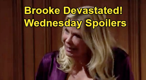 The Bold and the Beautiful Spoilers: Wednesday, August 12 - Brooke Devastated By Ridge & Shauna's Marriage - Hope & Zoe Team Up