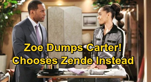The Bold and the Beautiful Spoilers: Zoe Dumps Carter, Chooses Zende Instead – Paris Refuses to Accept Heartbreaking Outcome?
