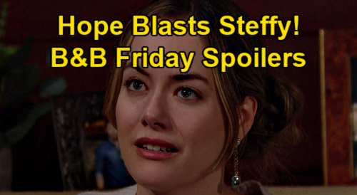 The Bold and the Beautiful Spoilers: Friday, January 15 - Hope Blasts Steffy - Finn Blames Liam - Zoe Quizzes Zende