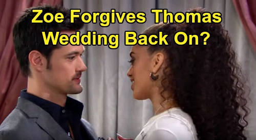 The Bold and the Beautiful Spoilers: Will Zoe Forgive Thomas Again - Wedding Back On?