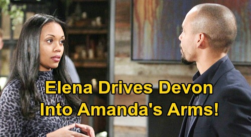 The Young and the Restless Spoilers: Devon Reels After Learning of Elena & Nate's Affair - Pushed Directly Into Amanda's Arms?