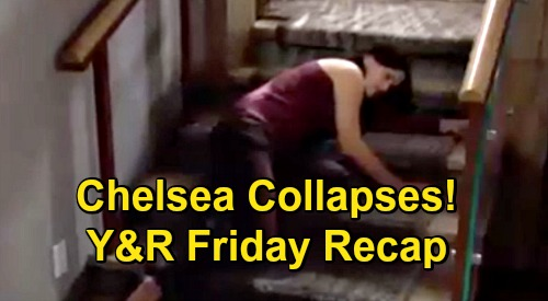The Young and the Restless Spoilers Recap: Friday, December 4 - Chelsea Collapses - Rey Arrests Billy - Adam Offers A Deal