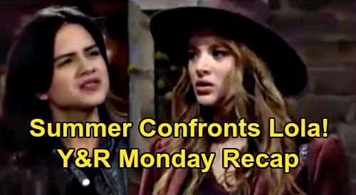 The Young and the Restless Spoilers Recap: Monday, October 19 - Summer Confronts Lola - Abbotts Mourn Dina - Faith Sneaks Out