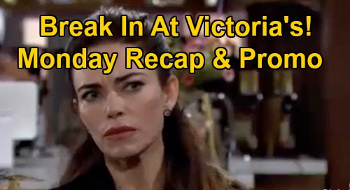 The Young and the Restless Spoilers Recap: Monday, October 26 - Break In At Victoria's - Billy Threatens Adam - Gloria Stashes Flash Drive