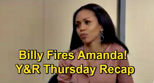 The Young and the Restless Spoilers Recap: Thursday, December 10 - Billy Fires Amanda - Summer Energizes Theo - Sally Struck Down