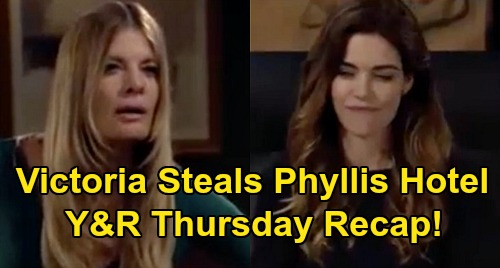 The Young and the Restless Spoilers Recap: Thursday, October 8 - Victoria Steals Grand Phoenix - Chelsea Wants To Leave GC