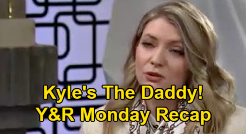 The Young and the Restless Spoilers Recap: Monday, March 1 - Tara Says Kyle is Harrison's Father - Phyllis Spies on Sally
