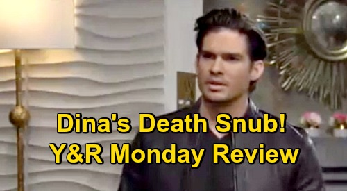 The Young and the Restless Spoilers Review: Monday, October 19 – Theo Fumes Over Dina Death Snub – Lola Blasts 'Crazy Stalker' Summer