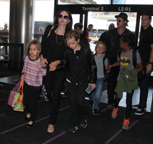 Brad Pitt and Angelina Jolie Spotted with Entire Family at LAX: Flying To Greece To Buy An Island for Vacation Home?