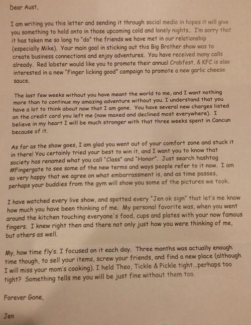 Big Brother 17 Spoilers: Austin's Ex-Girlfriend Jen Dumps BB17 Houseguest - Posts Furious Letter Over Liz Showmance