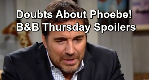The Bold and the Beautiful Spoilers: Thursday, January 31 - Brooke and Ridge Have Doubts About Phoebe - Reese Wants Assurances