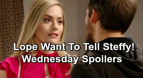 The Bold and the Beautiful Spoilers: Wednesday, April 17 - Lope Want To Tell Steffy About Flo - Shauna Flips Over Baby Switch