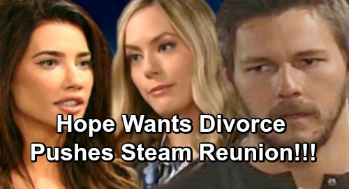 The Bold and the Beautiful Spoilers: Hope Pushes Steffy Reunion, Wants Divorce - Liam Struggles to Save Lope Marriage