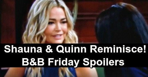 The Bold and the Beautiful Spoilers: Friday, April 5 - Quinn & Shauna Reminisce - Wyatt & Flo Compare Dad Stories