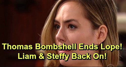 The Bold and the Beautiful Spoilers: Hope's Nightmare Becomes Steffy's Lucky Liam Break – Thomas Bombshell Ends Lope, Revives Steam