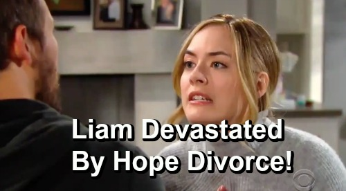 The Bold and the Beautiful Spoilers: Liam Devastated By Hope's Divorce Demand - Seeks Comfort From Wyatt