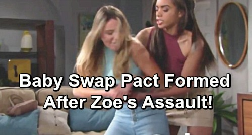 The Bold and the Beautiful Spoilers: 2 Weeks Ahead - Flo, Shauna and Zoe Form Baby Swap Pact After Violent Assault