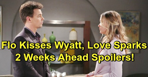 bold and the beautiful spoilers flo fulton kisses wyatt spencer katrina bowden darin brooks