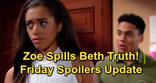 The Bold and the Beautiful Spoilers: Friday, May 31 Update – Zoe Spills Beth Swap to Xander – Thomas Faces Steffy Interrogation
