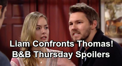 The Bold and the Beautiful Spoilers: Thursday, May 9 - Liam Confronts A Stunned Thomas - Flo Feels Like A Hypocrite